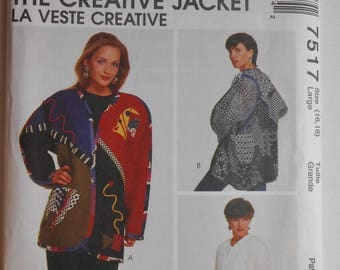 Vintage 90s Misses Creative Lined or Unlined Jacket with Kimono Sleeves Sewing Pattern McCalls 7517 Size L 16 18 Bust 40 Uncut