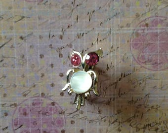 Vintage Pink Rhinestone Mother of Pearl MOP Owl BIrd Brooch Pin jewelry Hoot Owl Barn Owl
