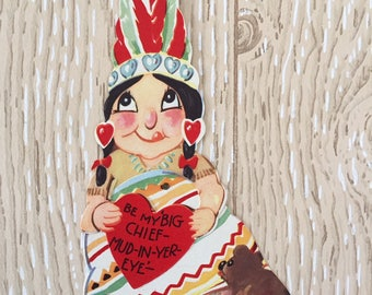Silly Vintage 1940s Valentine Indian Chief with Bear, Large Oversized Card with twisting part held together with rivet