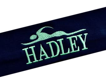 Swimming Headband with Personalized Monogrammed EMBROIDERED NAME  -  Choose Your CUSTOM Colors and Text