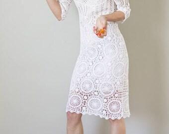 Vintage 90s white crochet slinky dress UK10 EUR38