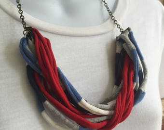 Red and Blue Fabric Necklace, Fabric Statement Necklace, Bib Necklace, Tshirt Yarn, Upcycled Jewelry, Repurposed Jewelry