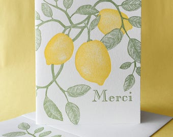 Meyer Lemon Merci Thank You Card or Blank Note Card