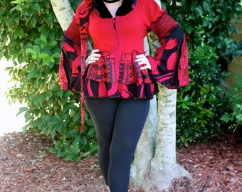 Ready to Ship- Black and Red Bustle Coat- Upcycled Sweater Coat with a Medieval Liripipe Hood and Bell Sleeves- by SnugglePants