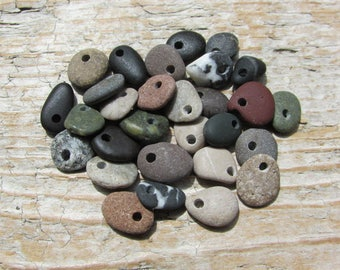 TINY Natural  Beach Stone CHARMS Beads Stone Dangles Stone Supply