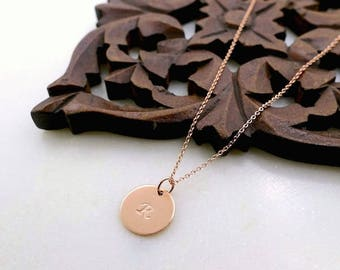 """Rose Gold 1/2"""" Disc Initial Necklace, Rose Gold Initial Necklace, Rose Gold Monogram Necklace, Rose Gold Personalized Necklace, Initial Disc"""