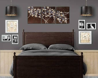 Abstract Wall Art Large Acrylic Painting of Flowers in Dark Brown and Gray - Three Piece Art Original on Canvas - 50x20