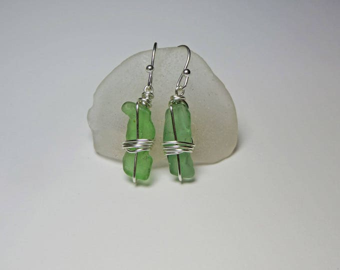 French Sea Glass Earrings - Wire Wrapped Earrings - Sea Glass Jewelry