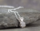 Diamond Pendant - 1 Carat Raw Diamond Necklace - Uncut Rough Diamond - Sterling Silver - April Birthstone - Jewelery Made in Canada -