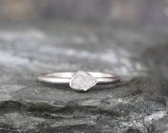 Raw Diamond Engagement Ring - Sterling Silver Bezel Set - Uncut Rough Diamond -Polished Band - April Birthstone Rings - Stacking Ring