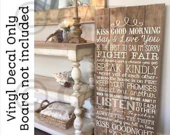 Kiss Good Morning say I love you...Kiss Goodnight vinyl lettering wall decal sticker
