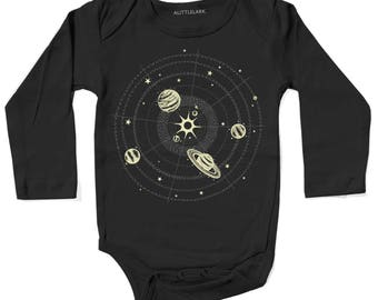 Solar System One piece, Space Baby Bodysuit, Baby Clothes, Planets Shirt, Baby Space Bodysuit, Unisex Baby Clothes, Galaxy Space baby gift