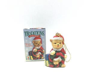 "Vintage Traditions Christmas Ornament ""Meowy"" Christmas, by 7 Eleven, Citco - 1998, Cat Ornament"