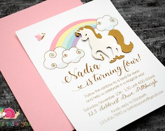 Pink & Gold Unicorn Invitations · A2 FLAT · Magical | Pastel Rainbow | Birthday Party Invitation