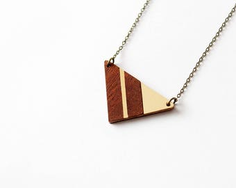 Geometric mahagony triangle necklace with golden strip - minimalist, modern and elegant intarsia jewellery