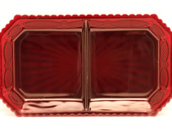 CAPE COD 1876 COLLECTION By Avon ** Two-Part Relish Dish ** Ruby Red ** Pressed Glass