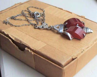Sterling Carnelian Art Deco Necklace - 925, Sterling, Deco, Sugarloaf, Jugendstil, Pendant, Antique