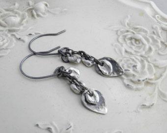 Recycled Sterling Drop, Leaf Artisan Earrings-Metalwork Handmade