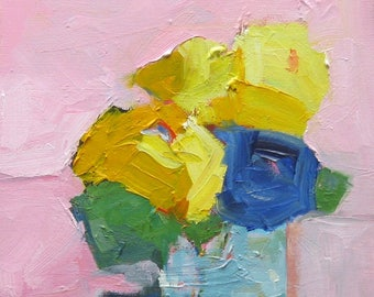 Abstract Still Life, Flowers on a Pink Background, Oil Painting, Original Abstract, 11 x 14, Thick Chunky Canvas, Blue and Yellow Flowers