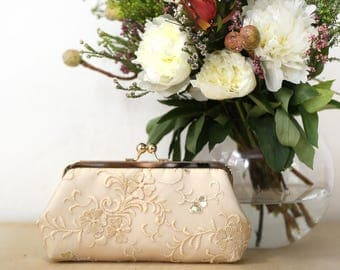 Champagne Bridal Clutch with embroidery and gold / beige sequins 8-inches