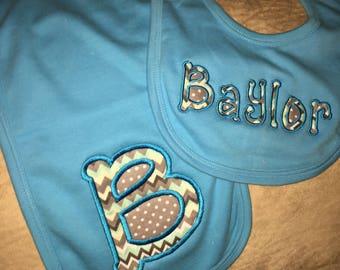 Applique Baby Bib and Burp Cloth Set