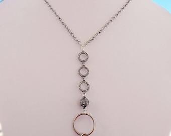 Fashion Breakaway Lanyard - ID Badgeholder - Silver Lanyard - Necklace Glasses Holder - SPARKLE Lanyard
