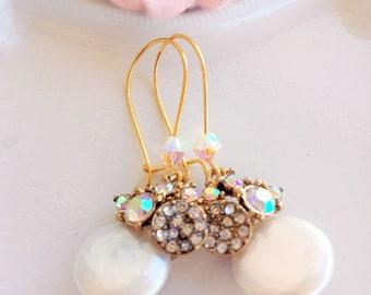 Pearl Dangle Earrings - Mother of the Bride Earrings - White Pearl Earrings - Jewelry Gifts - LILOU Pearl