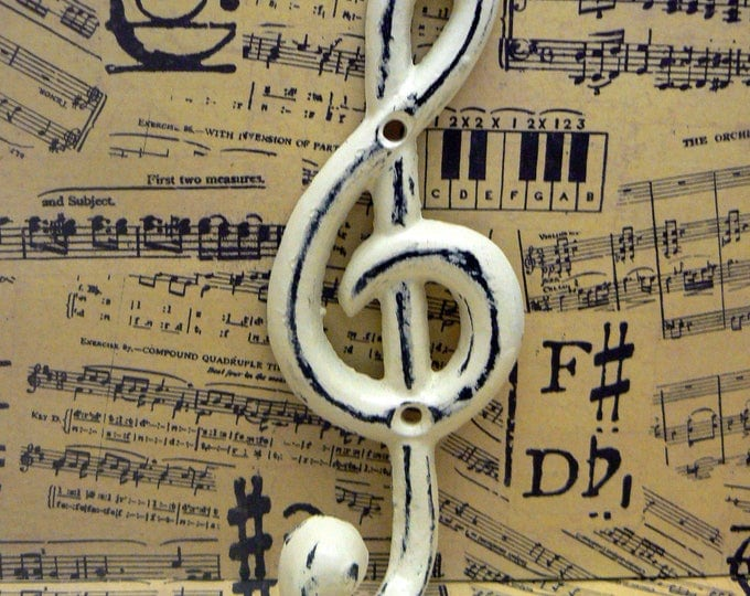 Treble Clef Music Note Hook Cast Iron Musical Symbol Shabby Elegance OFF White Towel Coat Jewelry Keys Pet Leash Rustic Woodland Wall Hook