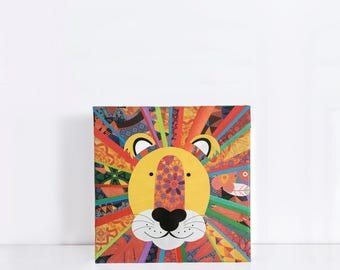 rainbow lion original artwork collage on canvas - wild african sarafi nursery, kids, nursery decor, jungle wall art, illustration, boy girl