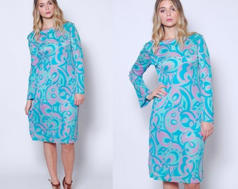 Vintage 70s PSYCHEDELIC Dress Long Sleeve Sheer Dress 70s LORD & TAYLOR Printed Dress