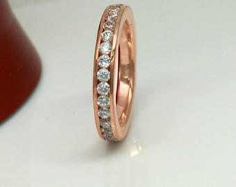 CZ Diamond Eternity Band Rose Gold Plated - White Diamond Cubic Zirconia Stack Ring - Stacking Ring - Anniversary - 301C Sterling Silver