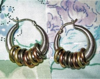 EARRINGS - HOOPS - 7 Multi toned circles on each  - Estate Sale  - 925 - Pierced  - Sterling Silver earrings 483