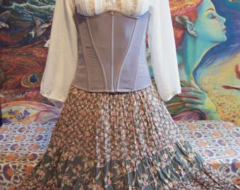 Under Bust, Corset & Skirt set, Hand dyed, Upcycle, size S/M