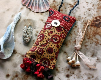 Silk Road--Talisman Lavender Sachet Art Object, a Miniature Wall Hanging, Summer's Perfume