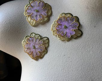 3 Purple Flower Appliques Double Layered Organza for Lyrical Dance, Ballet, Costumes, Garments IRON 07