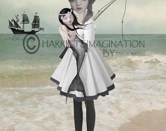 Sailor Girl Art Print | Mermaid Print | Lowbrow Art | Big Eyes Art | Sailor Girl Holding Mermaid | Found Not Forgotten