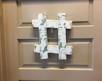 Chippy Wood Hashtag Wall Art--Wooden Rustic Pound Sign--Kitschy Office Wall Decor--Rustic Folk Art--Trendy Social Media Pound Sign