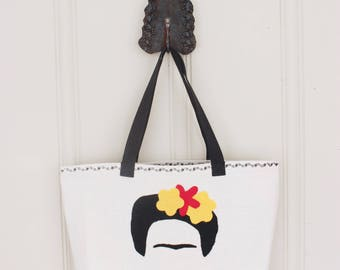 Frida Kahlo Tote Bag - Lined Tote Bag with Pocket - Made to Order