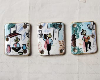 vintage ceramic bracelet focals - 1950s 1960s painted Mexico street scenes - reclaimed jewelry supplies