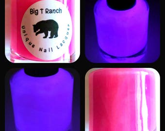 Glow-in-the-Dark Nail Polish - Pink Glows Purple - SHOOTING STAR - Custom Blended Nail Polish - Regular Full Sized Bottle (15 ml size)