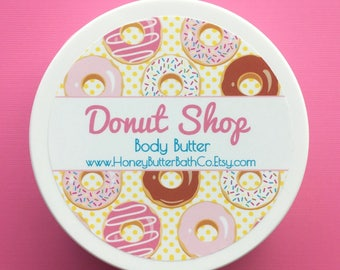 Donut Shop Body Butter | Lotion | Cream | Sweet | Organic | Bath | Beauty | Mom | Donut | Sprinkles | Chocolate | Doughnut | Frosting | Gift