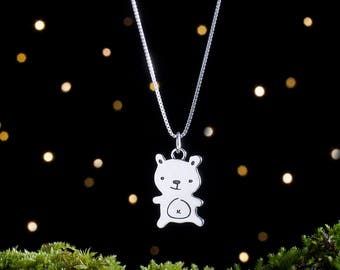 Sterling Silver Teddy Bear - Double Sided - (Pendant, Necklace, or Earrings)
