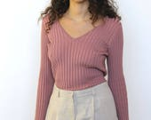 prairie dawn -- vintage 70s ribbed mauve top -- S/M