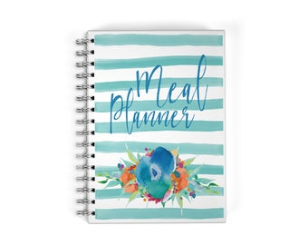 Meal Planner Spiral Notebook - Floral Watercolors