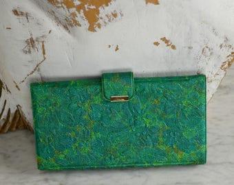 Women's Green Wallet, Vintage Wallet, Wallet Checkbook, Green Billfold, Rockabilly Wallet,Wallet Clutch, Wallet Pictures, Coin Purse,