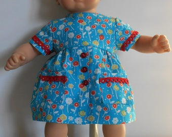 """Blue print """"EASY-ON"""" dress with red trim fits Bitty Baby"""