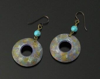 Domed Circle Earrings, Unique Handmade Earrings, Rustic Niobium Earrings, Astronomy, Science Art Jewelry, Unique Earring Gift for Women, Mom