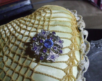 Vintage Silvertone Crystal Rhinestone in Blue and Purple Maltese Cross High Fashion Statement Brooch, Pin
