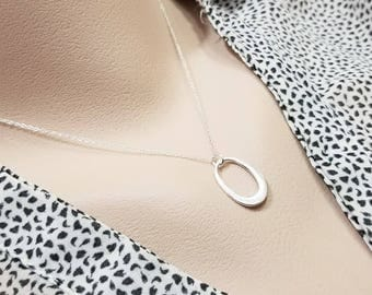 Organic Oval Link Necklace - Sterling Silver, Oval Pendant