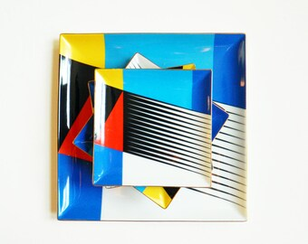Modernist Vintage Geometric Platter and Appetizer Plates / Vintage Modern Art Deco Plates / Colorful Geometric Platter